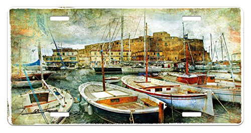 Naples Decor - Ambesonne Marine License Plate, Naples Small Boats at Historical Italian Coast with Heritage Castle Nautical Artwork, High Gloss Aluminum Novelty Plate, 5.88 L X 11.88 W Inches, Multicolor