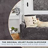 Great Bay Home Velvet Plush Stretch Sofa Ottoman