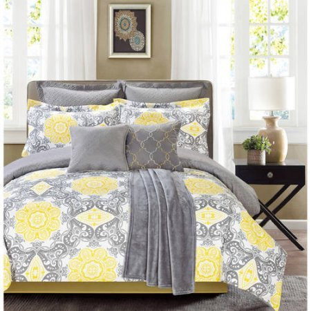 Sunrise 8 Piece Soft Modern Damask Adult Girls Bedding King Comforter Set- Yellow