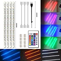 Simpome LED TV USB Backlight Light Kit (4 x 1.64ft RGB LED Strip), 5050 SMD 120LEDs, 5V 16 Color Changing Strip Light for HDTV TV Monitor Decoration, Non-Waterproof, Strip Connectors Included