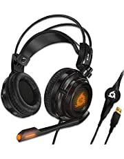 KLIM Puma - USB Gamer Headset with Mic - 7.1 Surround Sound Audio - Integrated Vibrations - Perfect for PC / PS5 / PS4 Gaming - New 2020 Version - Black