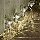 BlueField ガーデンライト ソーラー LED おしゃれ ダイヤモンド型 4本セット(白光色)