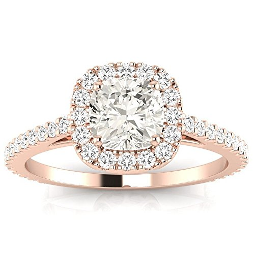14K Rose Gold 0.94 CTW Gorgeous Classic Cushion Halo Style Diamond Engagement Ring w/ 0.59 Ct GIA Certified Cushion Cut G Color SI1 Clarity Center by Houston Diamond District