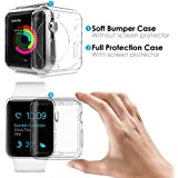 [2Pack] Amprich Compatible Apple Watch Screen Protector and Case 42mm, One Soft TPU All-Around Clear Cover and One Protective Bumper Compatible iWatch Case for Apple Watch Case Series 3, Series 2