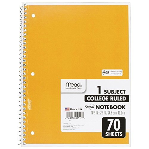 043100055129 - Mead Notebook Spiral 10-1/2 In. X 8 In. 3 Hole Punch - Assorted Colors carousel main 7