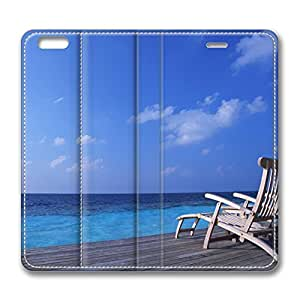 Canvas Chairs On Tropical Island iPhone 6 Plus 5.5inch Leather Case, Personalized Protective Slim Fit Skin Cover For Iphone 6 Plus [Stand Feature] Flip Case Cover for New iPhone 6 Plus