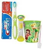 "Disney ""Fairies"" Inspired 4pc Bright Smile Oral Hygiene Set! Toothbrush, Toothpaste, Brushing Timer & Mouthwash Rinse Cup! Plus Bonus ""Remember to Brush"" Visual Aid!"
