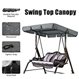 Essort Swing Canopy, 2 to 3 Seaters Waterproof Anti-UV Swing Top Cover Canopy Replacement for Outdoor Porch Patio Swing and Garden Hammock, 75'' × 52'' × 5.9'' Grey