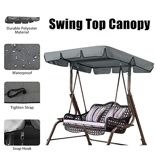 (ESSORT Swing Canopy, 2 to 3 Seaters Waterproof Anti-UV Swing Top Cover Canopy Replacement for Outdoor Porch Patio Swing and Garden Hammock, 75'' × 52'' × 5.9'' Grey)