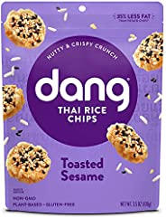 Dang Sticky Rice Chips | Toasted Sesame | 4 Pack | Vegan, Gluten Free, Non GMO Rice Crisps, Healthy Snacks Mad