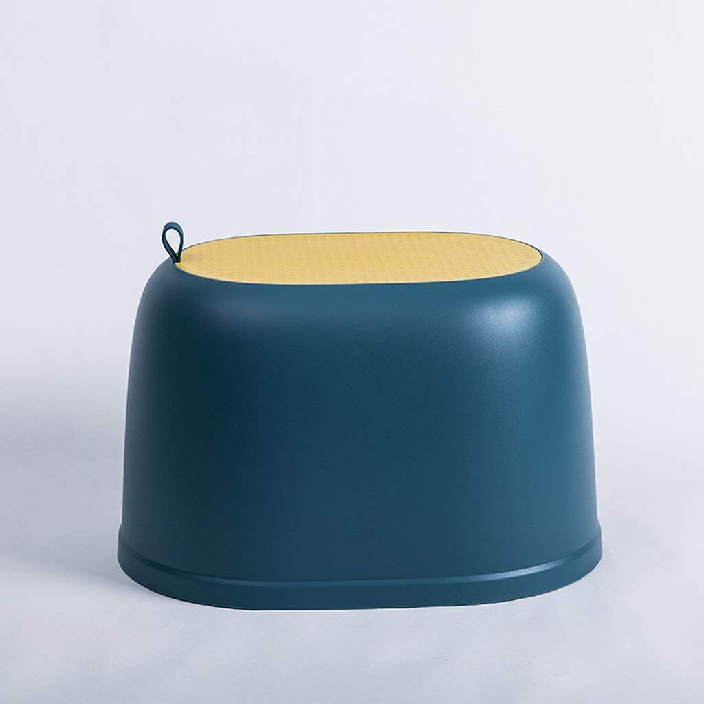 Stool-Plastic Round Stool High Stool Small Chair Thicken Adult Stool Bench Child Stool V (Color : Dark Blue)