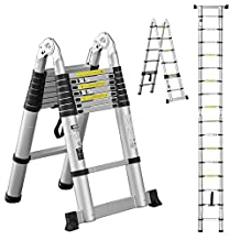 OGIMA 16.5ft Extension Ladder EN131 Portable A-type Aluminum Telescopic Loft Ladder with Spring Loaded Locking Mechanism Non-slip Ribbing 330lb Capacity