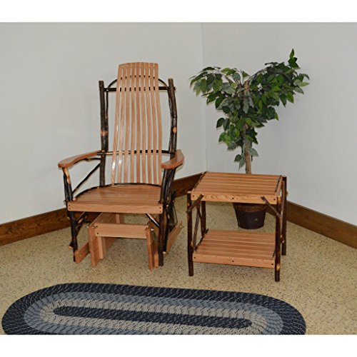 A & L Furniture Co. Amish Bentwood Hickory Glider Rocker with End Table Set - Ships Free in 5-7 Business ()
