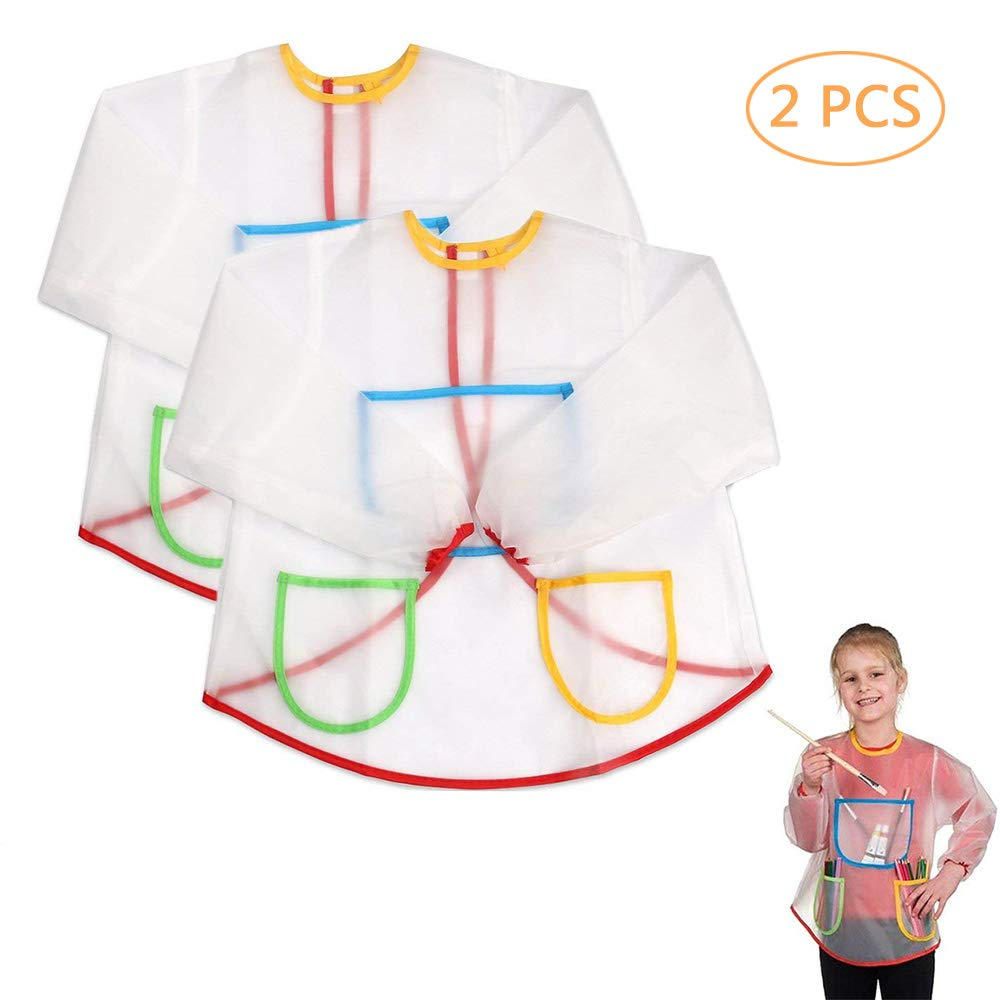 Pro-Noke Kids Art Aprons Children Waterproof Aprons Artist Aprons with Long Sleeve, Long Section Apron for Toddler 3-8 Years (Paints and Brushes not included)-transparent 2pcs