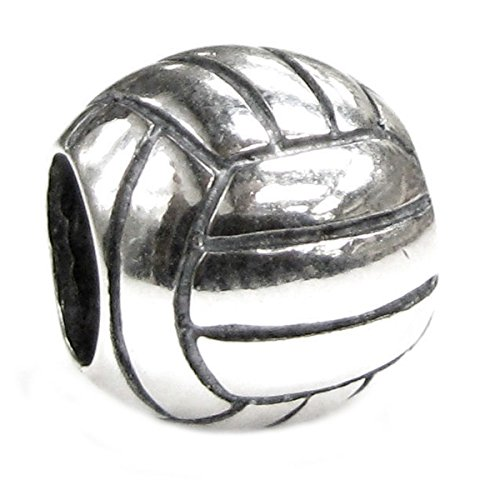 Sterling Silver Volleyball European Bead Charm - Sterling Silver Volleyball
