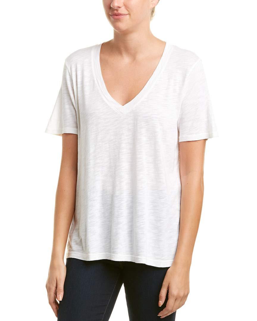 Splendid Women's Short Sleeve V-Neck, White, L