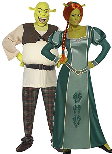 Couples Ladies and Mens DreamWorks Shrek and Fiona Halloween Film Fancy Dress Costumes Outfits (Ladies 16-18 & Mens Large) Green ()