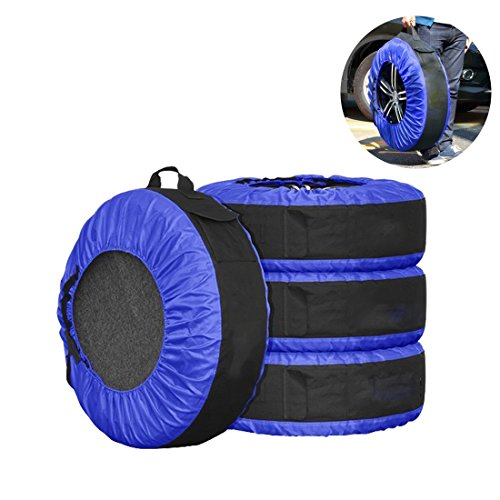 FLR Tire Cover Adjustable Waterproof Heavy 30in Tire Covers Bags Protection Covers Seasonal Tire Storage Bag for Car Off Road Truck Tire Covers Set of ()