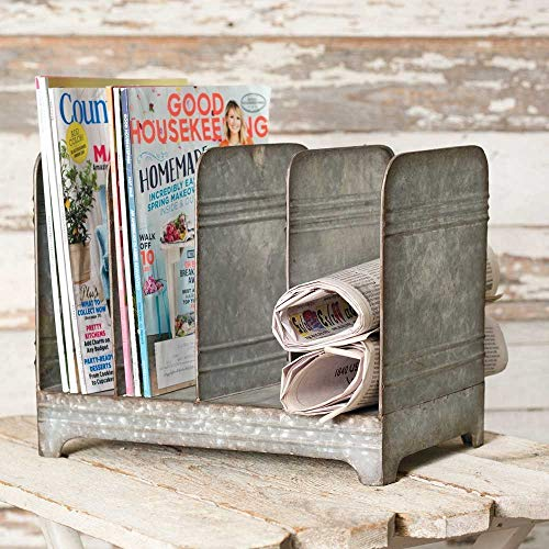 - Galvanized Magazine Rack-Vintage Industrial Farmhouse Chic