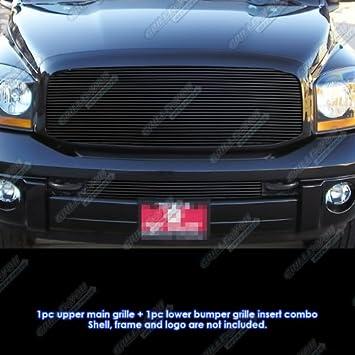 APS Compatible with 2006-2008 Dodge Ram Pickup Black Billet Grille Combo D87834H