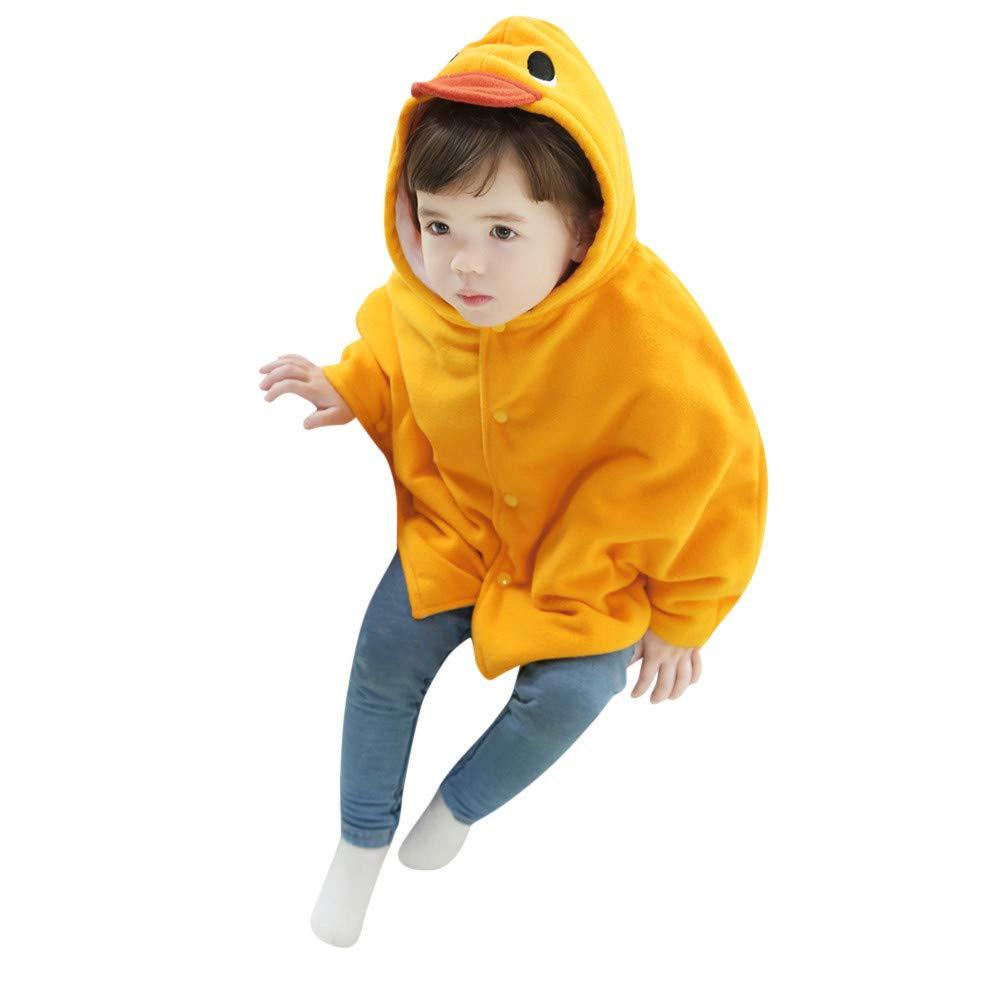 Franterd Little Boys Girls Animals Little Yellow Duck Frog Hooded Cloak Kids Winter Warm Jaket Coat Clothing