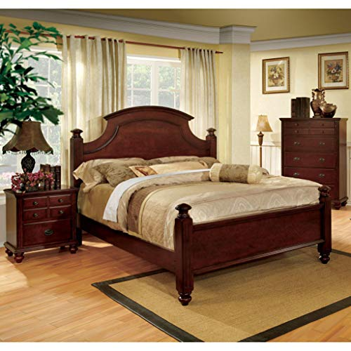 Furniture of America European Style Cherry Four Poster Bed King