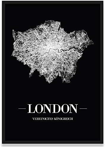 JUNIWORDS Stadtposter, London, Wähle eine Größe, 40 x 60 cm, Poster mit Rahmen, Schrift A, Schwarz