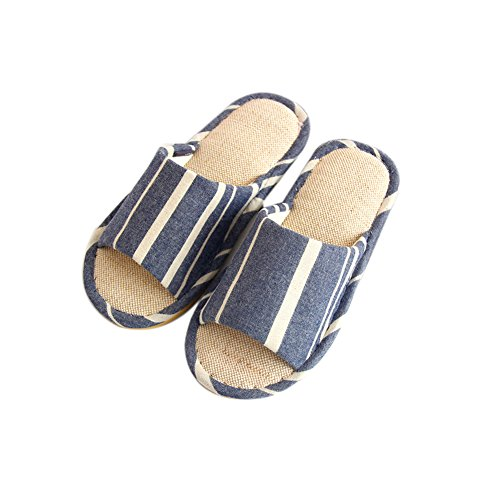 TELLW Cotton Linen Flax Slippers for Female Men Summer Spring Fall Home Indoor Wooden Floor Soft Bottom Anti-Skid Mute Fabric Couple Cool Slippers Men Blue a5lh8E