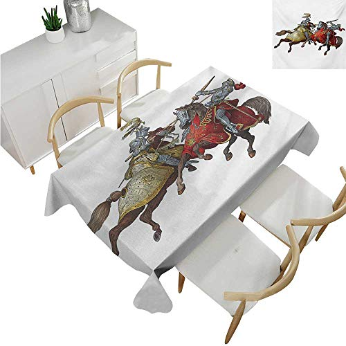 familytaste Medieval,Thanksgiving Tablecloth,Middle Age Fighters Knights with Ancient Costume Renaissance Period Illustration,Printed Tablecloth 52