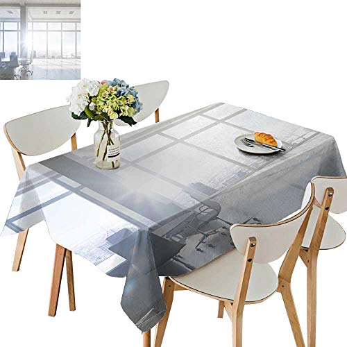 UHOO2018 Polyester Fabric Tablecloth Square/Rectangle White Office Interior mixe Media for Picnic,Outdoor or Indoor,54 ()