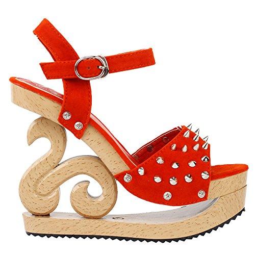 Punk Show Platform Gothic LF30830 Orange Story Sandals Look Spike Wooden Wedge Clogs TqwEUrqSn