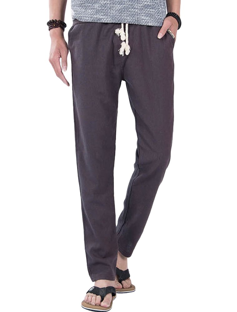 Vogstyle Men's Casual Linen Pants Elastic Waist Drawstring Trousers 27-29''