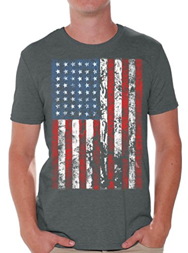 Awkwardstyles American Flag Distressed T-Shirt 4th July Shirt + Bookmark 5XL Charcoal (Mens T-shirt Distressed)