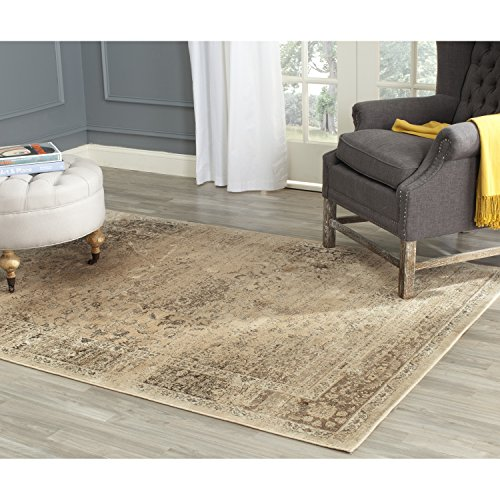 Safavieh Vintage Premium Collection VTG113-660 Transitional Oriental Warm Beige Distressed Silky Viscose Square Area Rug (8' Square) - Transitional 8' Square Rug