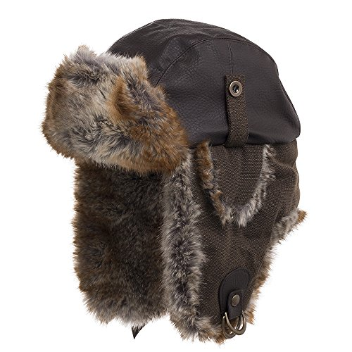 (Sitka Unique Trapper Aviator Ushanka Hat Extra Soft Faux Fur and Leather Brown 7 1/4)