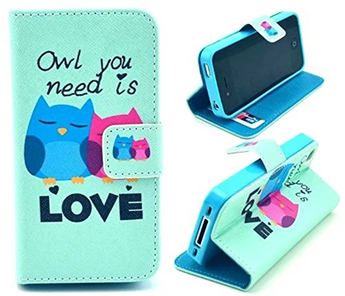 4g Case Pouch - iphone 4 Case,iphone 4S Case, Welity Retro owl Love PU Leather Wallet Type Magnet Design Flip Case Cover Credit Card Holder Pouch Case for Apple iPhone 4/4S/4G