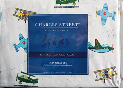 durable modeling Charles Street 3 Piece Boys Twin Sheet Set Vintage Airplanes