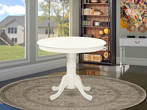 ANT-LWH-TP Antique Table 36 Round with Linen White