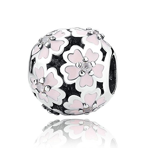 Everbling Primrose Flower Meadow with White Enamel Clip 925 Sterling Silver Bead Fits European Charm Bracelet (Primrose Meadow With Pink Enamel)
