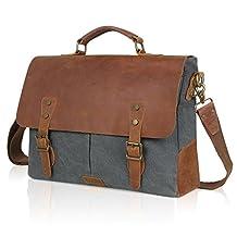 Lifewit Men Briefcase Leather Canvas Laptop Satchel Messenger Work Bag Fit up to 15.6-inch , Grey