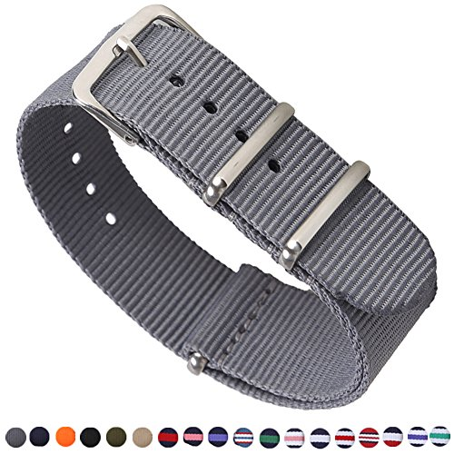 Premium Canvas Fabric Watch Bands Ballistic Nylon Straps Width,Smoke Grey,20mm ()