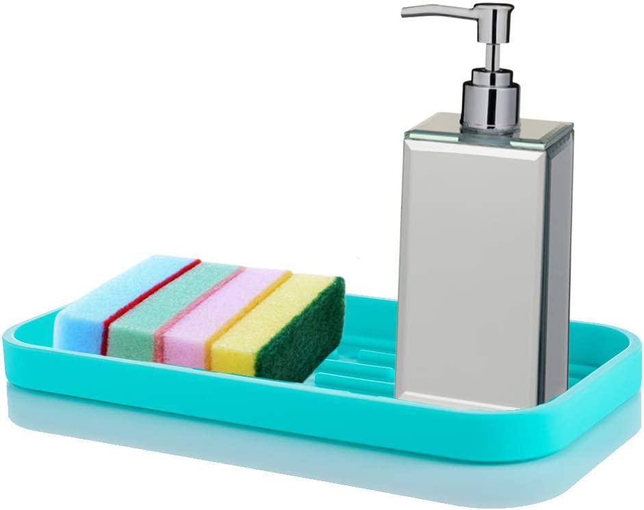 Nivafeel Kitchen Sink Organizer Tray – Silicone Holder for Sponge, Scrubber, Soap – Anti-Slip and Heat Resistant for Cleaning, Dishwashing Accessories - Turquoise