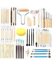61 Piece Ceramic Clay Tools Set,LAMPTOP Polymer Clay Tools Pottery Tools Set, Wooden Pottery Sculpting Clay Cleaning Tool Set for Potters Beginners Professionals Arts Crafts