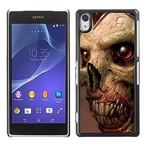 EJOY---Cubierta de la caja de protección la piel dura para el ** Sony Xperia Z2 ** --Gore del zombi Cráneo