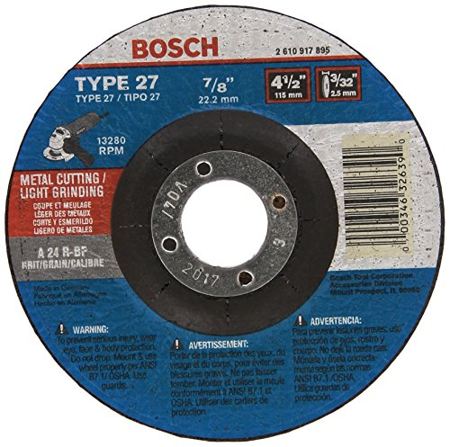 Bosch CG27M450 4-1/2 In. 3/32 In. 7/8 In. Arbor Type 27 24 Grit Light Grinding/Metal Cutting Abrasive - Grinding Wheel Bosch