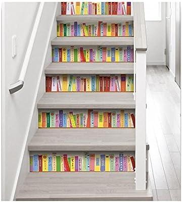 Plage Vinilos para Escaleras-Biblioteca Colorida, Multicolor, 19x3x100 cm, 3 Unidades: Amazon.es: Hogar