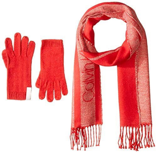 Calvin Klein Women's 2 PC Varsity CK Scarf, Knit Touch Glove, rouge, One Size