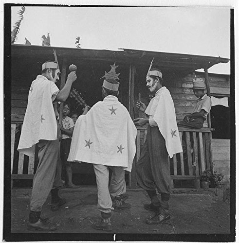 HistoricalFindings Photo: Men,Boy,Painted Faces,Costumes,Puerto Rico,Maracas,Guiro,Cuatro,1944-1946 -