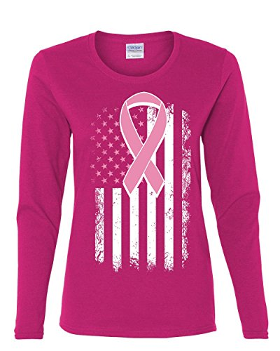 Pink Ribbon Distressed Flag Long Sleeve Tee Breast Cancer Awareness Pink L
