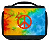 Tie Dye Peace Sign Design TM Small Travel Sized Hanging Cosmetic/Toiletry Case with 3 Compartments and Detachable Hanger-Made in the U.S.A.
